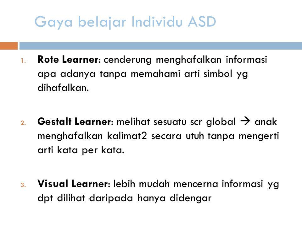 Gaya belajar Individu ASD 1.
