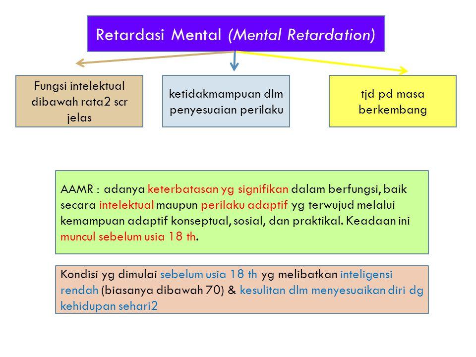 Retardasi Mental (Mental Retardation) Fungsi intelektual dibawah rata2 scr jelas AAMR : adanya keterbatasan yg signifikan dalam berfungsi, baik secara intelektual maupun perilaku adaptif yg terwujud melalui kemampuan adaptif konseptual, sosial, dan praktikal.