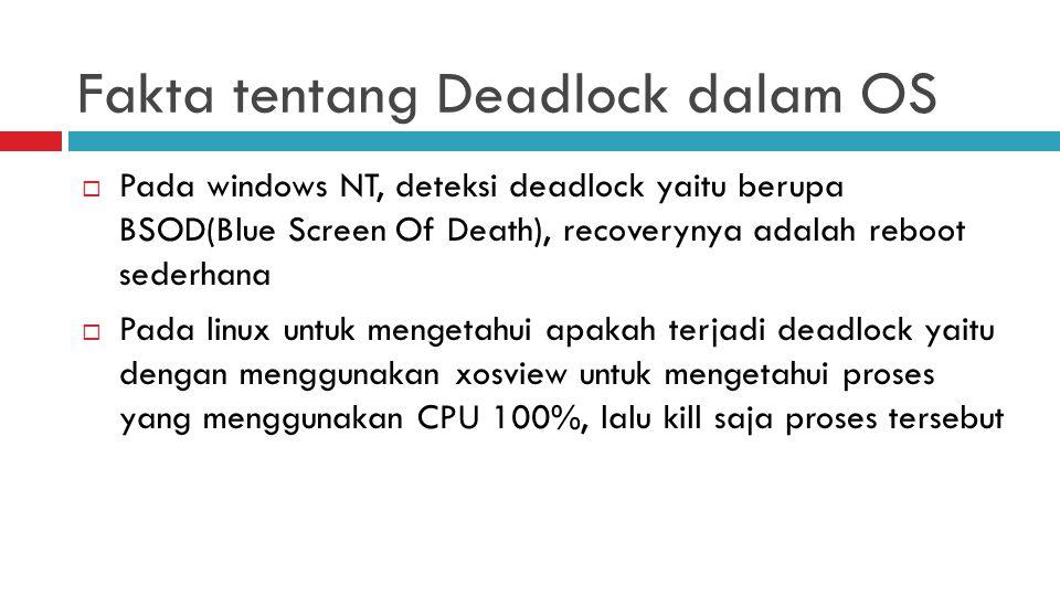 Fakta tentang Deadlock dalam OS  Pada windows NT, deteksi deadlock yaitu berupa BSOD(Blue Screen Of Death), recoverynya adalah reboot sederhana  Pada linux untuk mengetahui apakah terjadi deadlock yaitu dengan menggunakan xosview untuk mengetahui proses yang menggunakan CPU 100%, lalu kill saja proses tersebut