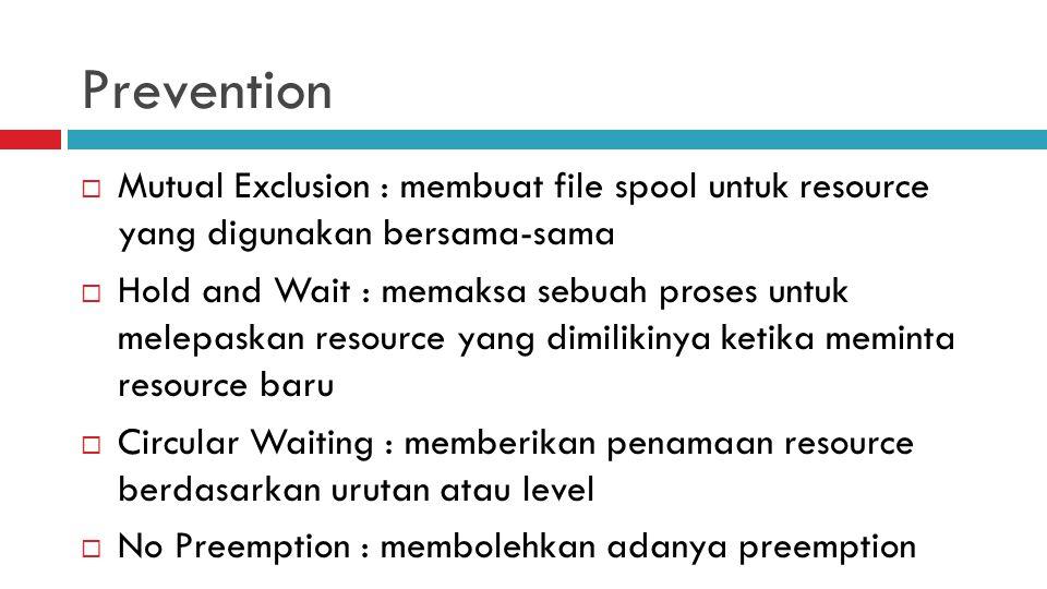 Prevention  Mutual Exclusion : membuat file spool untuk resource yang digunakan bersama-sama  Hold and Wait : memaksa sebuah proses untuk melepaskan resource yang dimilikinya ketika meminta resource baru  Circular Waiting : memberikan penamaan resource berdasarkan urutan atau level  No Preemption : membolehkan adanya preemption
