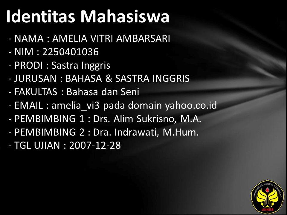 Identitas Mahasiswa - NAMA : AMELIA VITRI AMBARSARI - NIM : 2250401036 - PRODI : Sastra Inggris - JURUSAN : BAHASA & SASTRA INGGRIS - FAKULTAS : Bahas