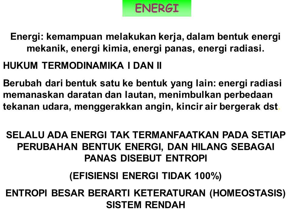 SELALU ADA ENERGI TAK TERMANFAATKAN PADA SETIAP PERUBAHAN BENTUK ENERGI, DAN HILANG SEBAGAI PANAS DISEBUT ENTROPI (EFISIENSI ENERGI TIDAK 100%) ENTROP