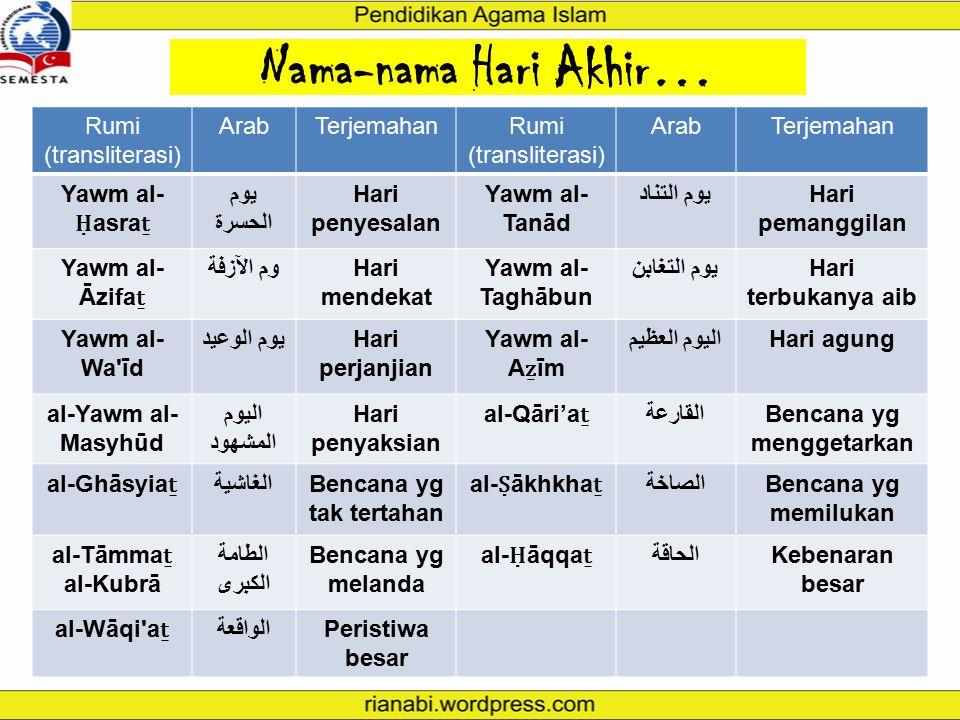Nama-nama Hari Akhir… Rumi (transliterasi) ArabTerjemahanRumi (transliterasi) ArabTerjemahan Yawm al- Qiyāma ṯ يوم القيامةHari kebangkitan al-Sā'a ṯ ا