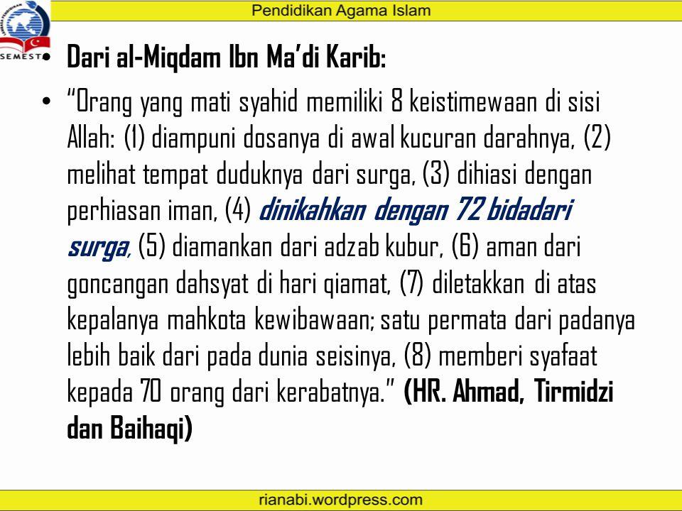 """Dari Abdullah bin Mas'ud ra: """"Kelompok pertama kali yang masuk surga, seolah wajah mereka cahaya rembulan di malam purnama. Kelompok kedua seperti bin"""