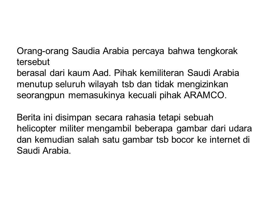 Orang-orang Saudia Arabia percaya bahwa tengkorak tersebut berasal dari kaum Aad. Pihak kemiliteran Saudi Arabia menutup seluruh wilayah tsb dan tidak