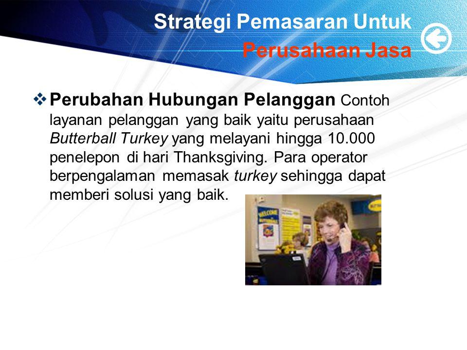Strategi Pemasaran Untuk Perusahaan Jasa  Perubahan Hubungan Pelanggan Contoh layanan pelanggan yang baik yaitu perusahaan Butterball Turkey yang mel