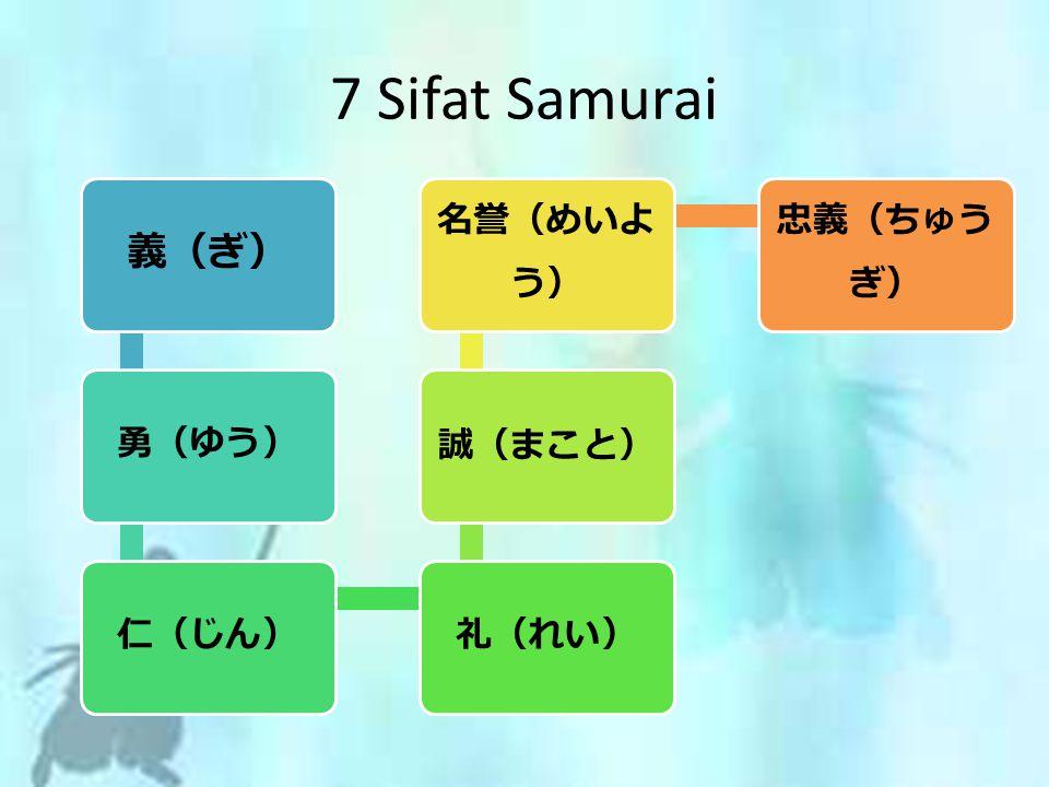 義(ぎ) 勇(ゆう)仁(じん)礼(れい) 誠(まこと) 名誉(めいよ う) 忠義(ちゅう ぎ) 7 Sifat Samurai