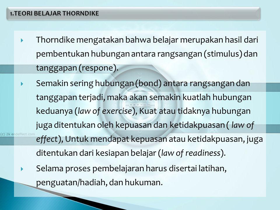  Ciri-ciri Belajar Menurut Thorndike, ◦ Ada motif pendorong aktivitas ◦ Ada berbagai respon terhadap sesuatu ◦ Ada eliminasi respon-respon yang gagal atau salah ◦ Ada kemajuan reaksi-reaksi yang mencapai tujuan dari penelitiannya.