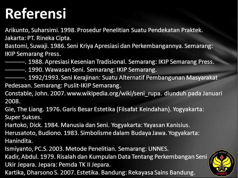 Referensi Arikunto, Suharsimi. 1998. Prosedur Penelitian Suatu Pendekatan Praktek. Jakarta: PT. Rineka Cipta. Bastomi, Suwaji. 1986. Seni Kriya Apresi
