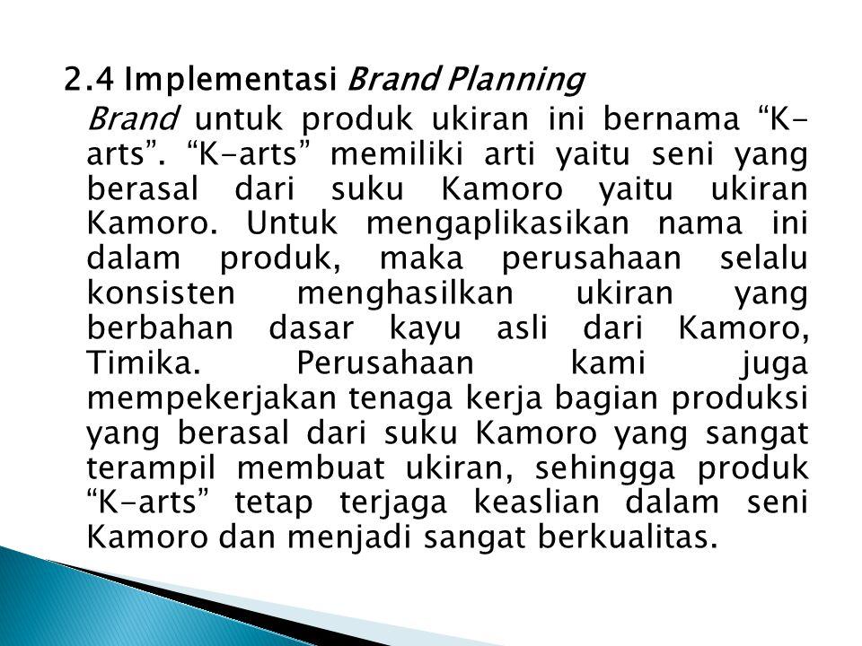 """2.4 Implementasi Brand Planning Brand untuk produk ukiran ini bernama """"K- arts"""". """"K-arts"""" memiliki arti yaitu seni yang berasal dari suku Kamoro yaitu"""