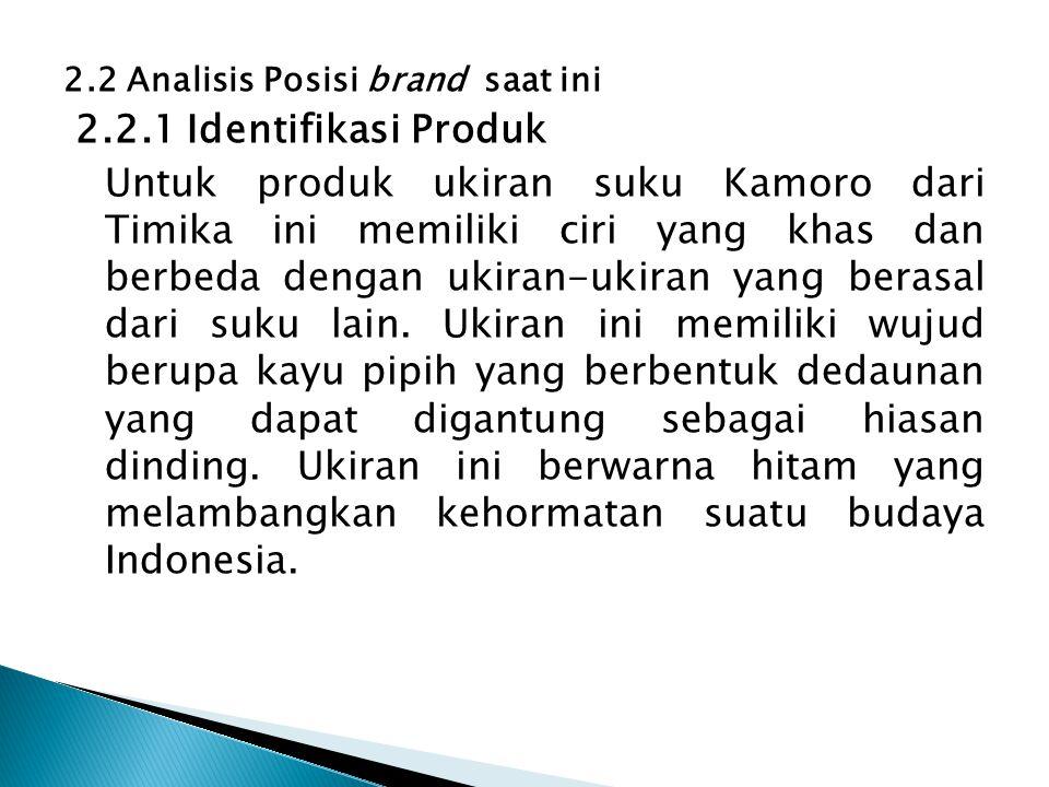 2.2 Analisis Posisi brand saat ini 2.2.1 Identifikasi Produk Untuk produk ukiran suku Kamoro dari Timika ini memiliki ciri yang khas dan berbeda denga