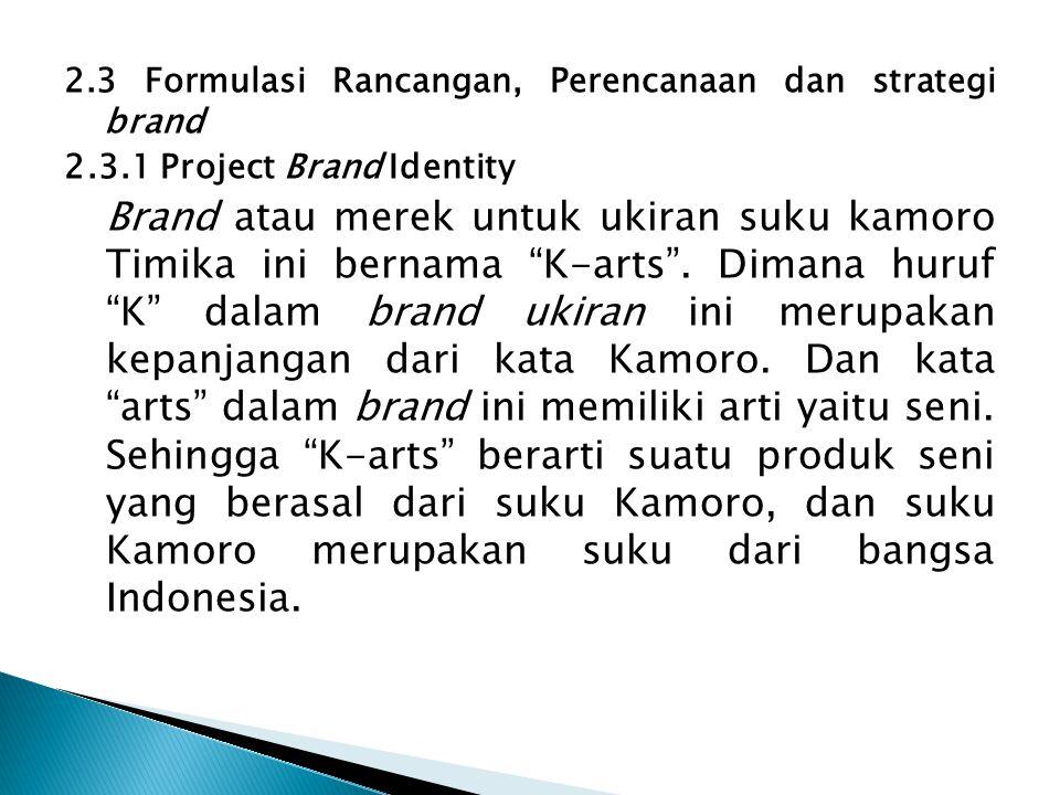 """2.3 Formulasi Rancangan, Perencanaan dan strategi brand 2.3.1 Project Brand Identity Brand atau merek untuk ukiran suku kamoro Timika ini bernama """"K-a"""