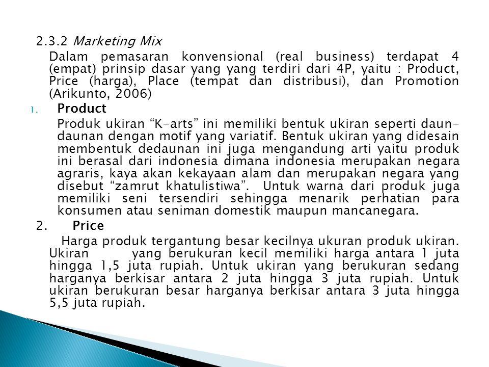 2.3.2 Marketing Mix Dalam pemasaran konvensional (real business) terdapat 4 (empat) prinsip dasar yang yang terdiri dari 4P, yaitu : Product, Price (h