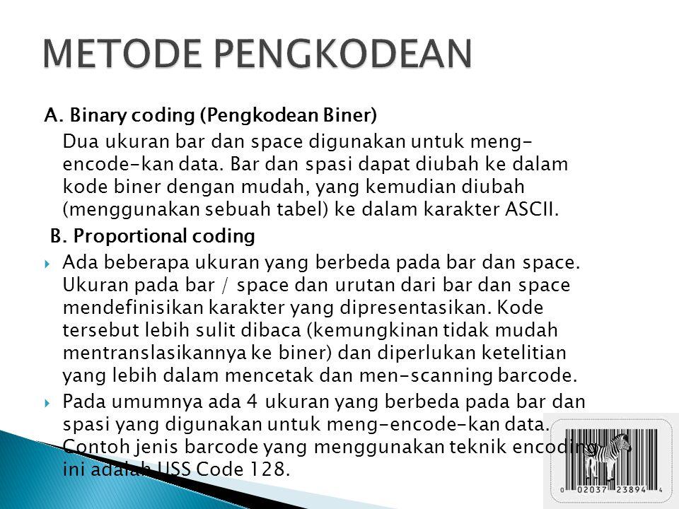 A. Binary coding (Pengkodean Biner) Dua ukuran bar dan space digunakan untuk meng- encode-kan data. Bar dan spasi dapat diubah ke dalam kode biner den