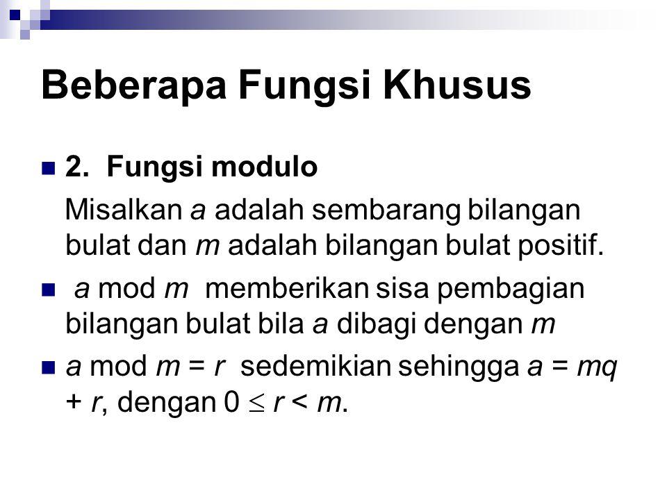 2. Fungsi modulo Misalkan a adalah sembarang bilangan bulat dan m adalah bilangan bulat positif. a mod m memberikan sisa pembagian bilangan bulat bila