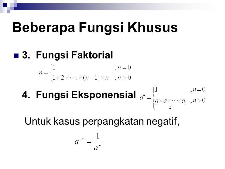 3. Fungsi Faktorial 4. Fungsi Eksponensial Untuk kasus perpangkatan negatif, Beberapa Fungsi Khusus