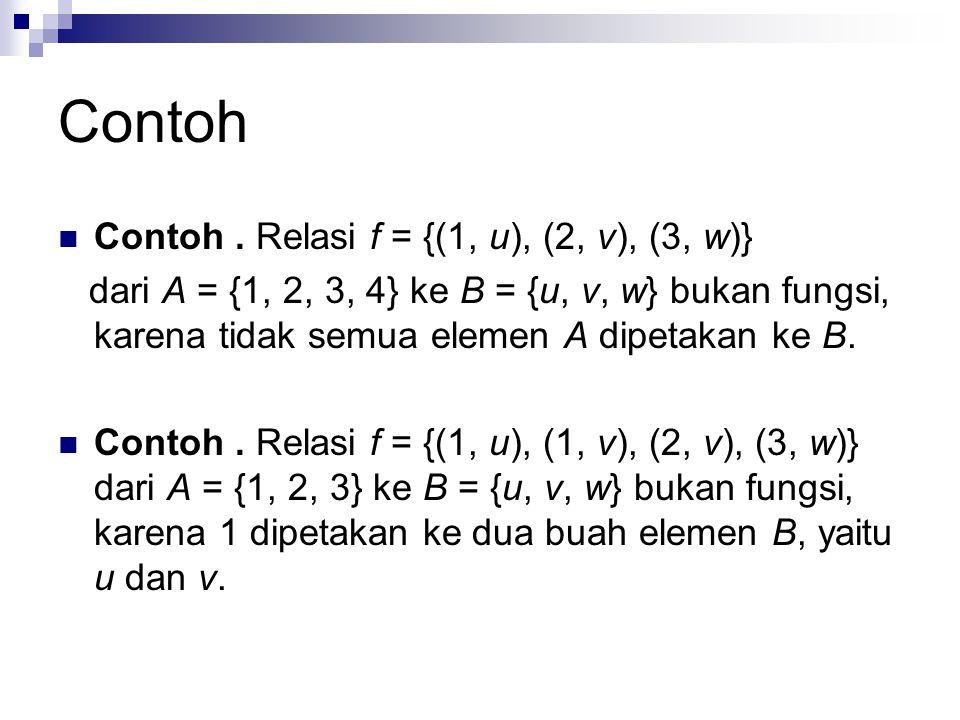 Contoh Contoh. Relasi f = {(1, u), (2, v), (3, w)} dari A = {1, 2, 3, 4} ke B = {u, v, w} bukan fungsi, karena tidak semua elemen A dipetakan ke B. Co