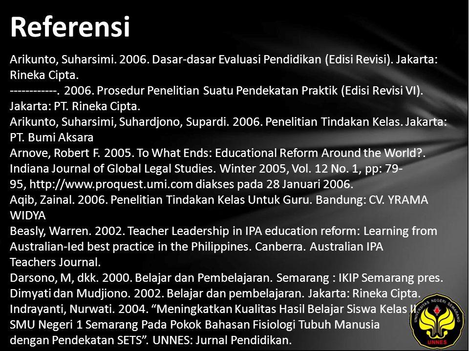 Referensi Arikunto, Suharsimi.2006. Dasar-dasar Evaluasi Pendidikan (Edisi Revisi).