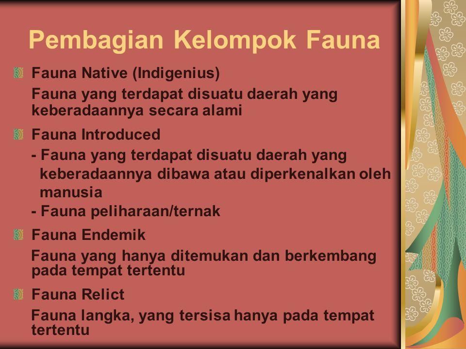 Pembagian Kelompok Fauna Fauna Native (Indigenius) Fauna yang terdapat disuatu daerah yang keberadaannya secara alami Fauna Introduced - Fauna yang te