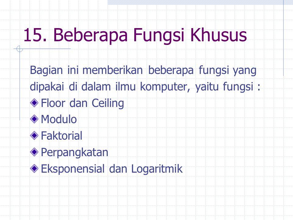 15. Beberapa Fungsi Khusus Bagian ini memberikan beberapa fungsi yang dipakai di dalam ilmu komputer, yaitu fungsi : Floor dan Ceiling Modulo Faktoria