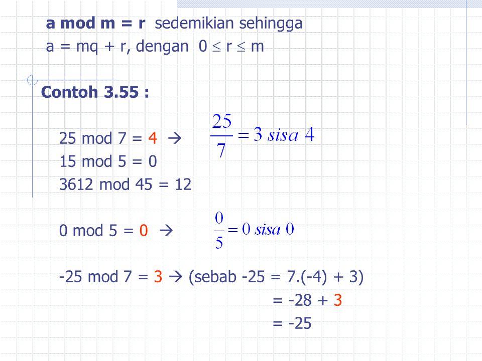 a mod m = r sedemikian sehingga a = mq + r, dengan 0  r  m Contoh 3.55 : 25 mod 7 = 4  15 mod 5 = 0 3612 mod 45 = 12 0 mod 5 = 0  -25 mod 7 = 3  (sebab -25 = 7.(-4) + 3) = -28 + 3 = -25