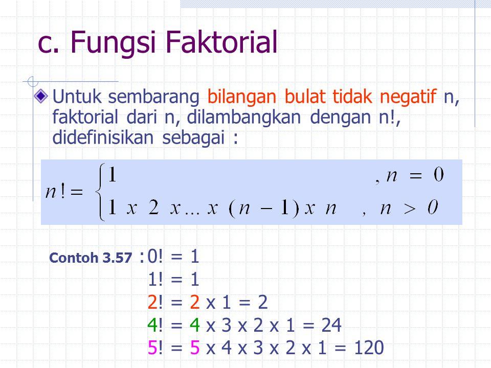 c. Fungsi Faktorial Untuk sembarang bilangan bulat tidak negatif n, faktorial dari n, dilambangkan dengan n!, didefinisikan sebagai : Contoh 3.57 :0!