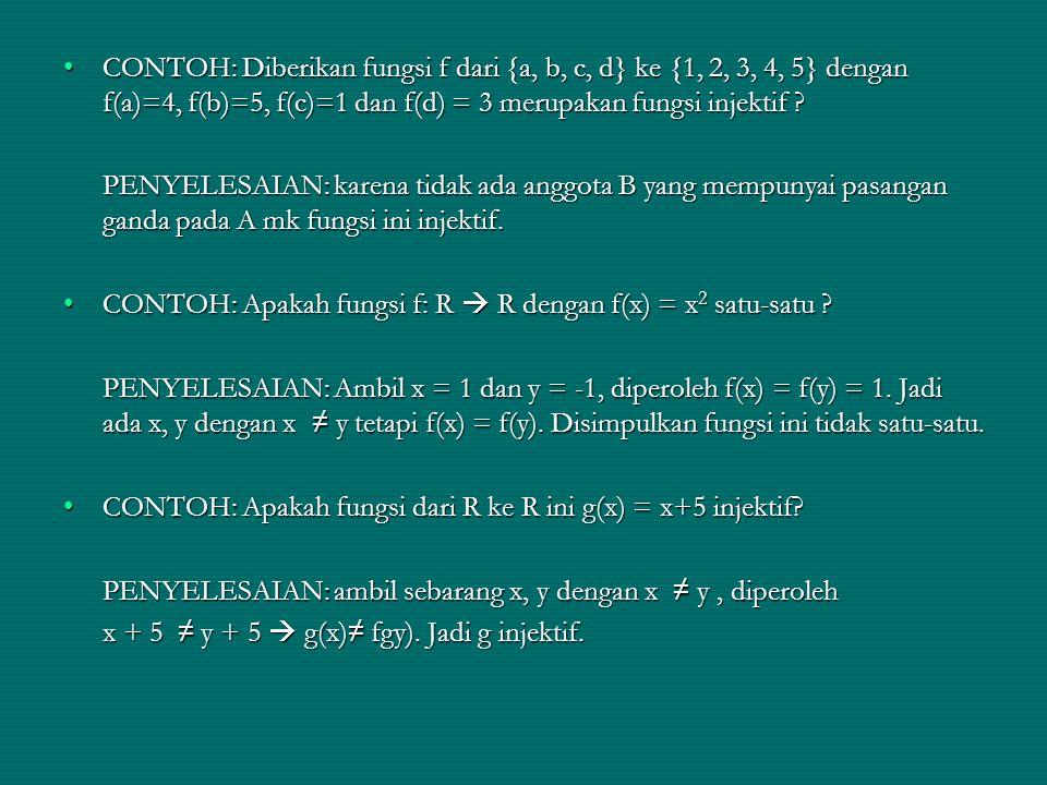 CONTOH: Diberikan fungsi f dari {a, b, c, d} ke {1, 2, 3, 4, 5} dengan f(a)=4, f(b)=5, f(c)=1 dan f(d) = 3 merupakan fungsi injektif ?CONTOH: Diberika