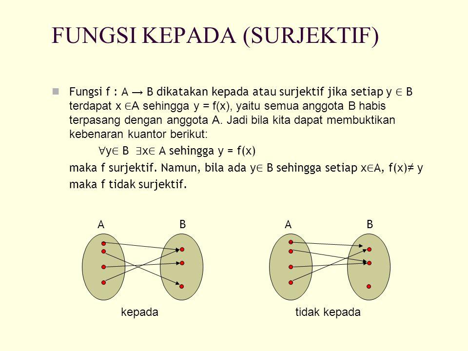 FUNGSI KEPADA (SURJEKTIF) Fungsi f : A → B dikatakan kepada atau surjektif jika setiap y ∈ B terdapat x ∈ A sehingga y = f(x), yaitu semua anggota B h