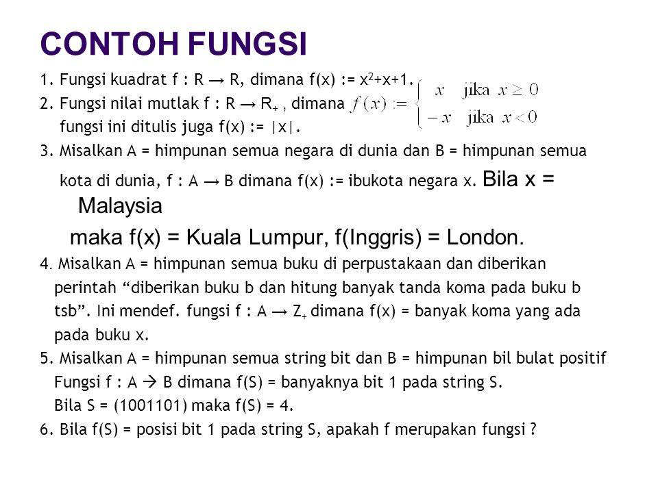 CONTOH FUNGSI 1. Fungsi kuadrat f : R → R, dimana f(x) := x 2 +x+1. 2. Fungsi nilai mutlak f : R → R +, dimana fungsi ini ditulis juga f(x) := |x|. 3.