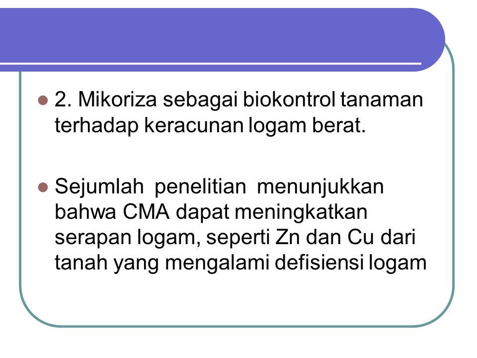 2. Mikoriza sebagai biokontrol tanaman terhadap keracunan logam berat. Sejumlah penelitian menunjukkan bahwa CMA dapat meningkatkan serapan logam, sep
