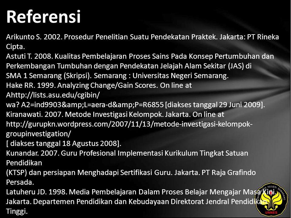 Referensi Arikunto S. 2002. Prosedur Penelitian Suatu Pendekatan Praktek.