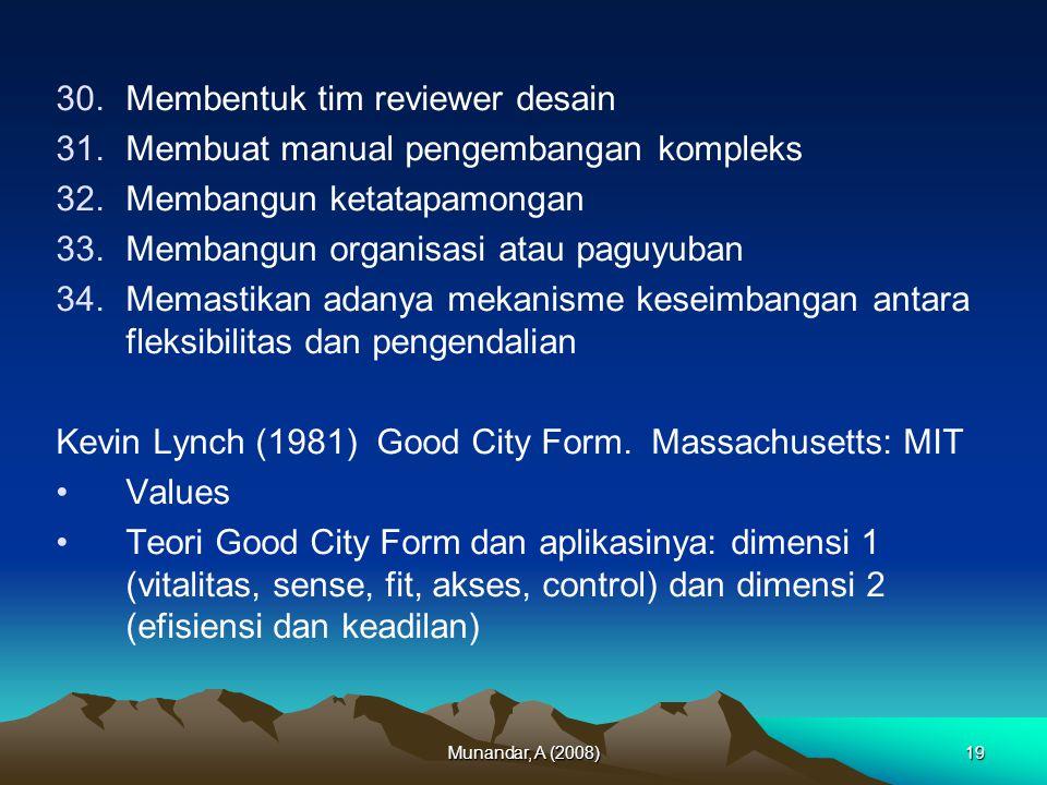 Munandar, A (2008)19 30.Membentuk tim reviewer desain 31.Membuat manual pengembangan kompleks 32.Membangun ketatapamongan 33.Membangun organisasi atau paguyuban 34.Memastikan adanya mekanisme keseimbangan antara fleksibilitas dan pengendalian Kevin Lynch (1981) Good City Form.