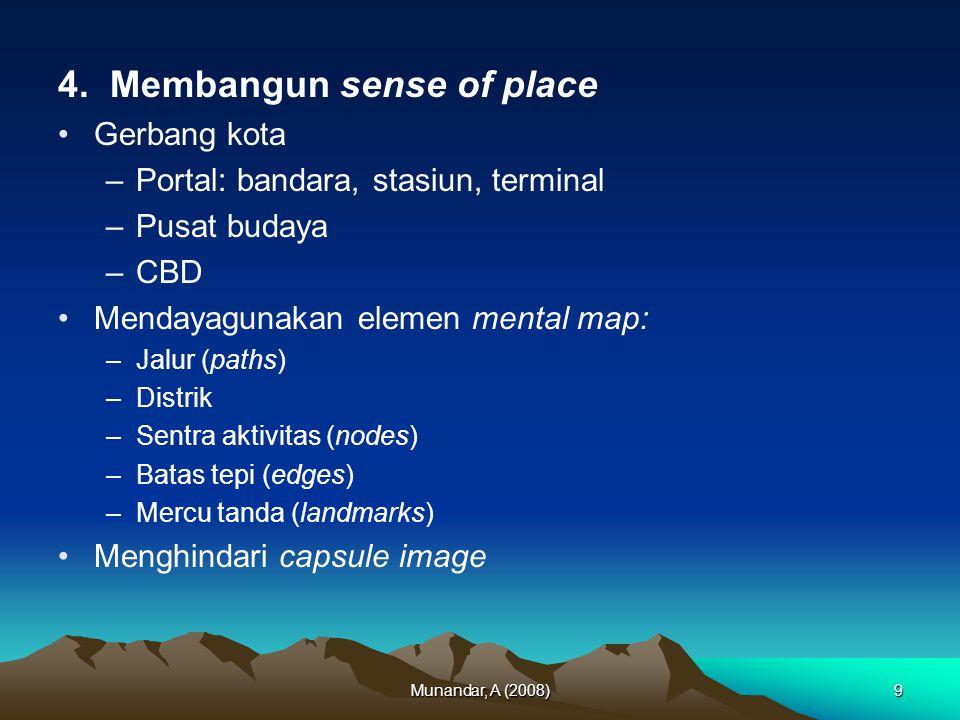 Munandar, A (2008)20 Kesimpulan Pergeseran fokus intervensi perencana atau desainer kota atau lanskap kota dan wilayah (skala meso hingga makro) pada akhirnya kembali merujuk kepada kebutuhan dasar manusia (Maslow)
