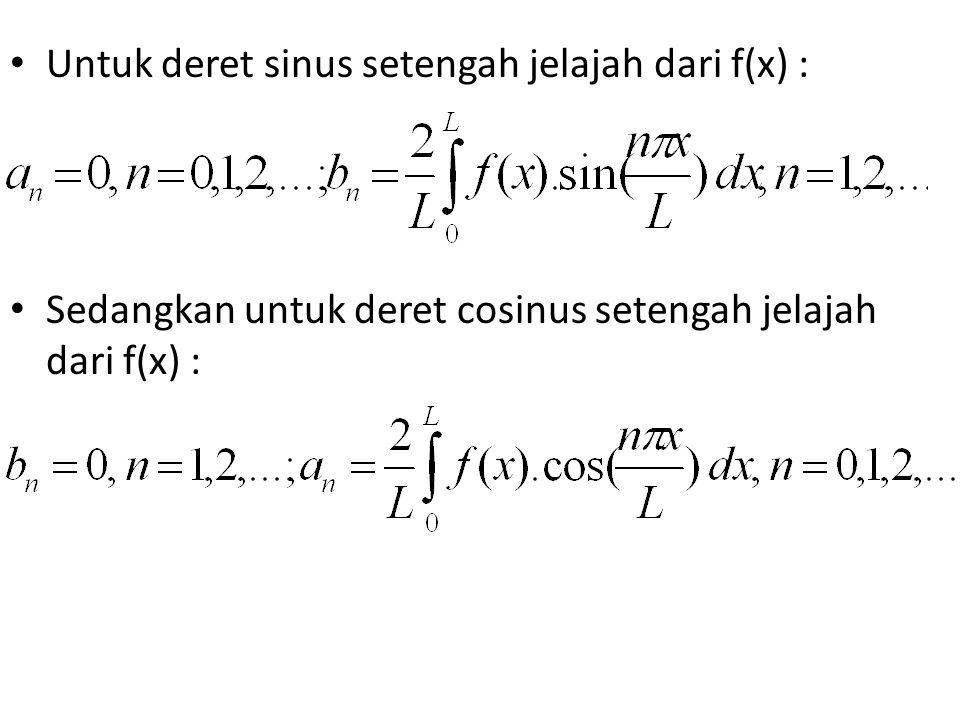 Untuk deret sinus setengah jelajah dari f(x) : Sedangkan untuk deret cosinus setengah jelajah dari f(x) :