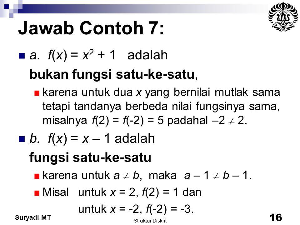 Suryadi MT Jawab Contoh 7: a. f(x) = x 2 + 1 adalah bukan fungsi satu-ke-satu, karena untuk dua x yang bernilai mutlak sama tetapi tandanya berbeda ni