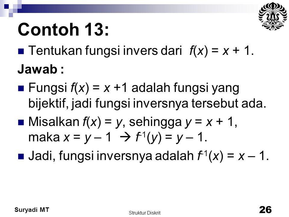Suryadi MT Contoh 13: Tentukan fungsi invers dari f(x) = x + 1. Jawab : Fungsi f(x) = x +1 adalah fungsi yang bijektif, jadi fungsi inversnya tersebut