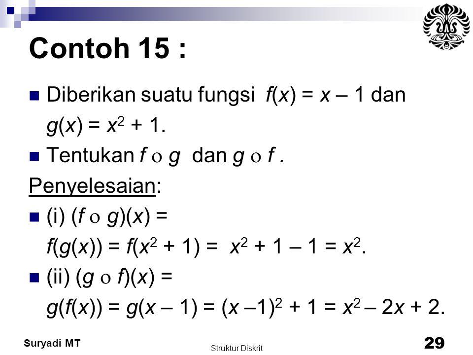 Suryadi MT Contoh 15 : Diberikan suatu fungsi f(x) = x – 1 dan g(x) = x 2 + 1. Tentukan f  g dan g  f. Penyelesaian: (i) (f  g)(x) = f(g(x)) = f(x
