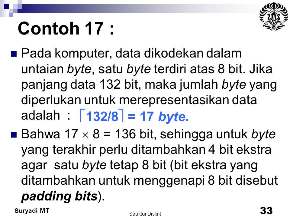 Suryadi MT Contoh 17 : Pada komputer, data dikodekan dalam untaian byte, satu byte terdiri atas 8 bit. Jika panjang data 132 bit, maka jumlah byte yan