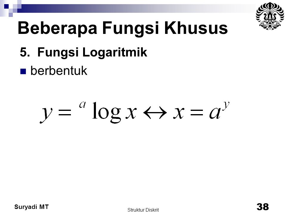 Suryadi MT Beberapa Fungsi Khusus 5. Fungsi Logaritmik berbentuk Struktur Diskrit 38