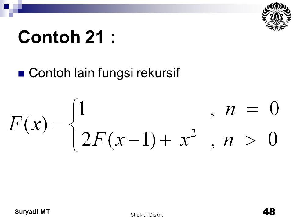 Suryadi MT Contoh 21 : Contoh lain fungsi rekursif Struktur Diskrit 48
