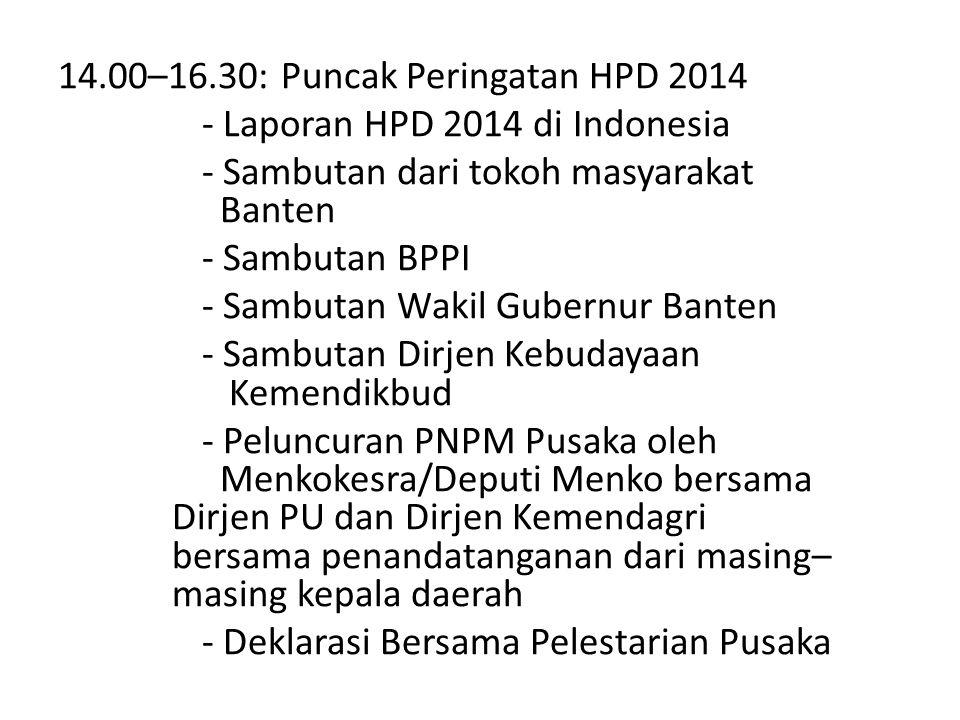16.30–18.00: Jelajah Pusaka Banten Lama (Kawasan Benteng Surosowan) (optional) 18.00–21.00: Makan Malam + Bazaar Kuliner dan Kesenian Rakyat (optional)
