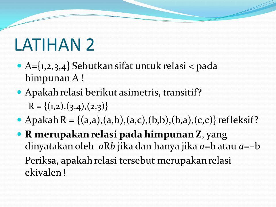 LATIHAN 2 A={1,2,3,4} Sebutkan sifat untuk relasi < pada himpunan A .