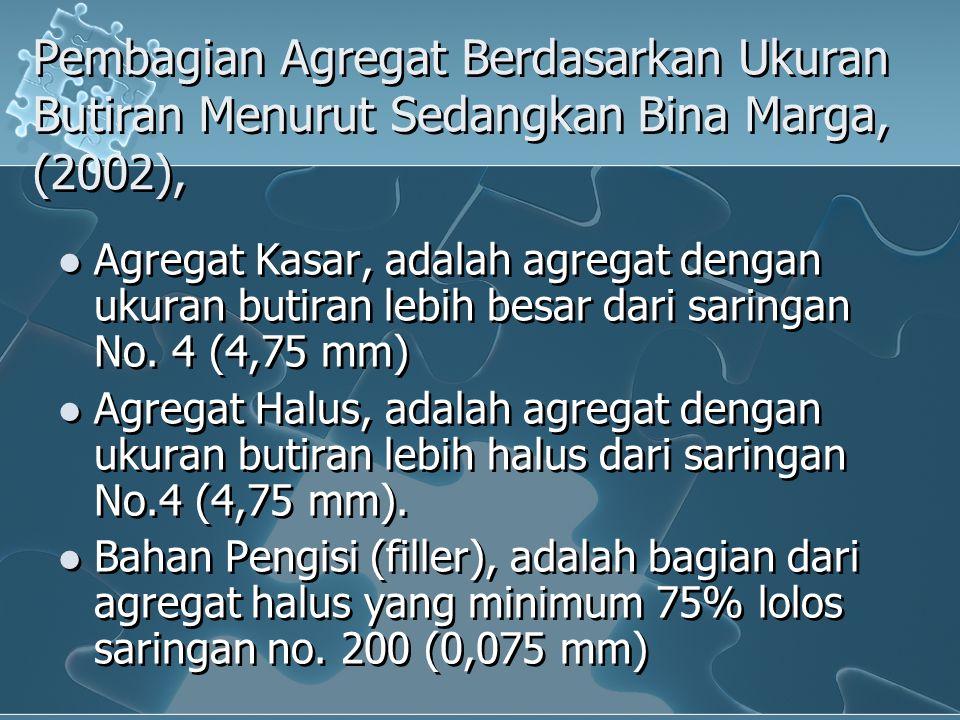 Pembagian Agregat Berdasarkan Ukuran Butiran Menurut Sedangkan Bina Marga, (2002), Agregat Kasar, adalah agregat dengan ukuran butiran lebih besar dar