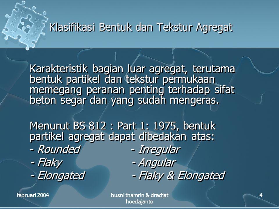 Klasifikasi Bentuk dan Tekstur Agregat februari 2004husni thamrin & dradjat hoedajanto 4 Karakteristik bagian luar agregat, terutama bentuk partikel d