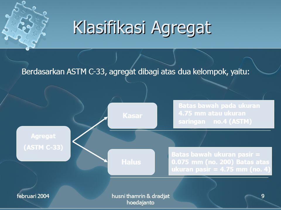 Klasifikasi Agregat februari 2004husni thamrin & dradjat hoedajanto 9 Berdasarkan ASTM C-33, agregat dibagi atas dua kelompok, yaitu: Agregat (ASTM C-