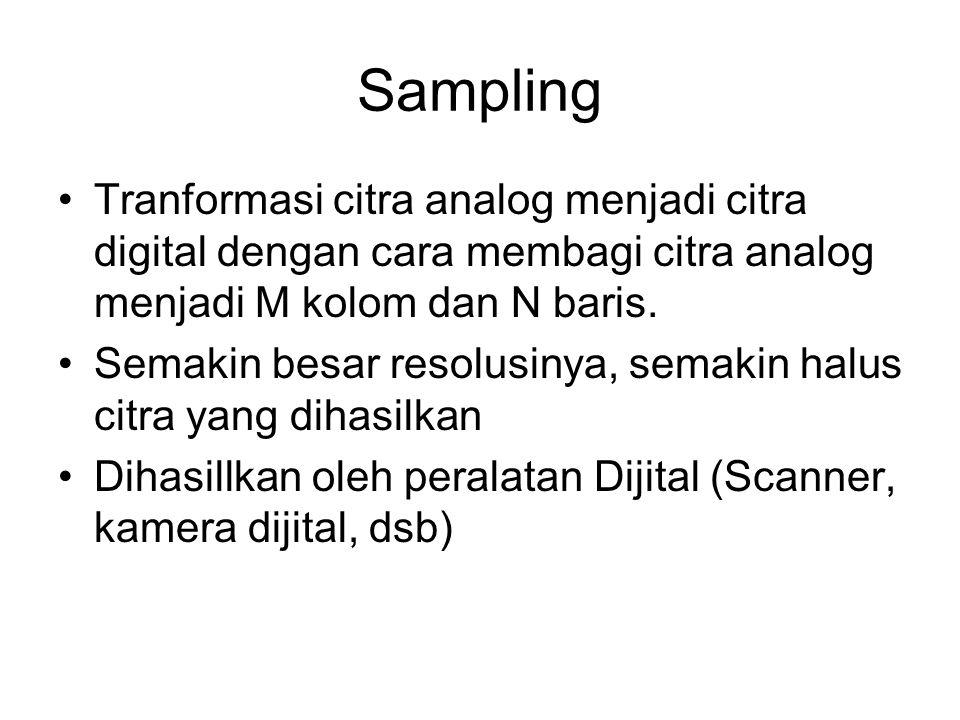 Kuantisasi Tranformasi intensitas analog yang bersifat berkelanjut ke intensitas diskrit Dihasillkan oleh peralatan Dijital (Scanner, kamera dijital, dsb) Warna tiap piksel disesuaikan dengan gradasi warna yang disediakan oleh memori