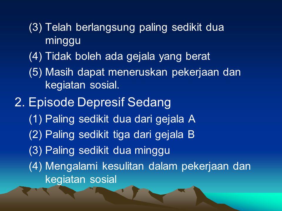 II. PENGGOLONGAN DIAGNOSIS 1.Episode Depresif Ringan ( 1 ) Sekurang-kurangnya dua gejala depresif yang khas (gejala A) : Perasaan depresif Kehilangan