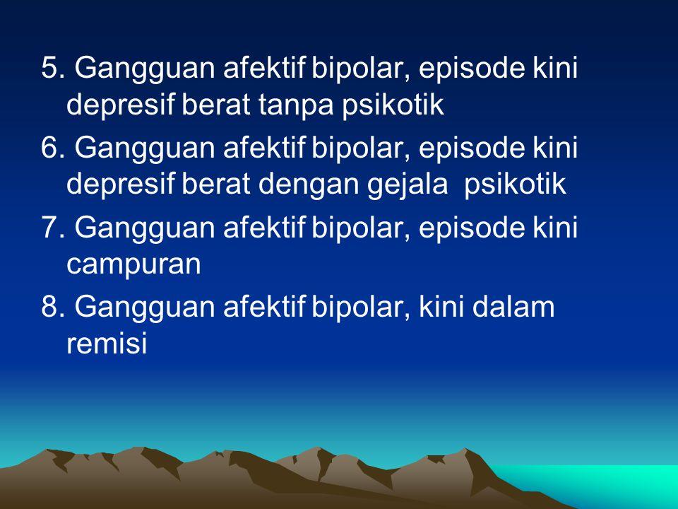 5.Gangguan afektif bipolar, episode kini depresif berat tanpa psikotik 6.
