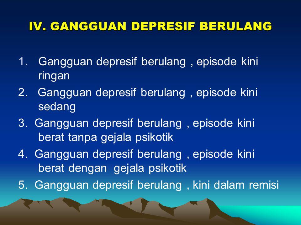 III. EPISODE DEPRESIF 1.Episode depresif ringan 2.Episode depresif sedang 3.Episode depresif berat tanpa gejala psikotik 4.Episode depresif berat deng