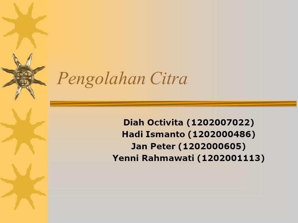 Pengolahan Citra Diah Octivita (1202007022) Hadi Ismanto (1202000486) Jan Peter (1202000605) Yenni Rahmawati (1202001113)